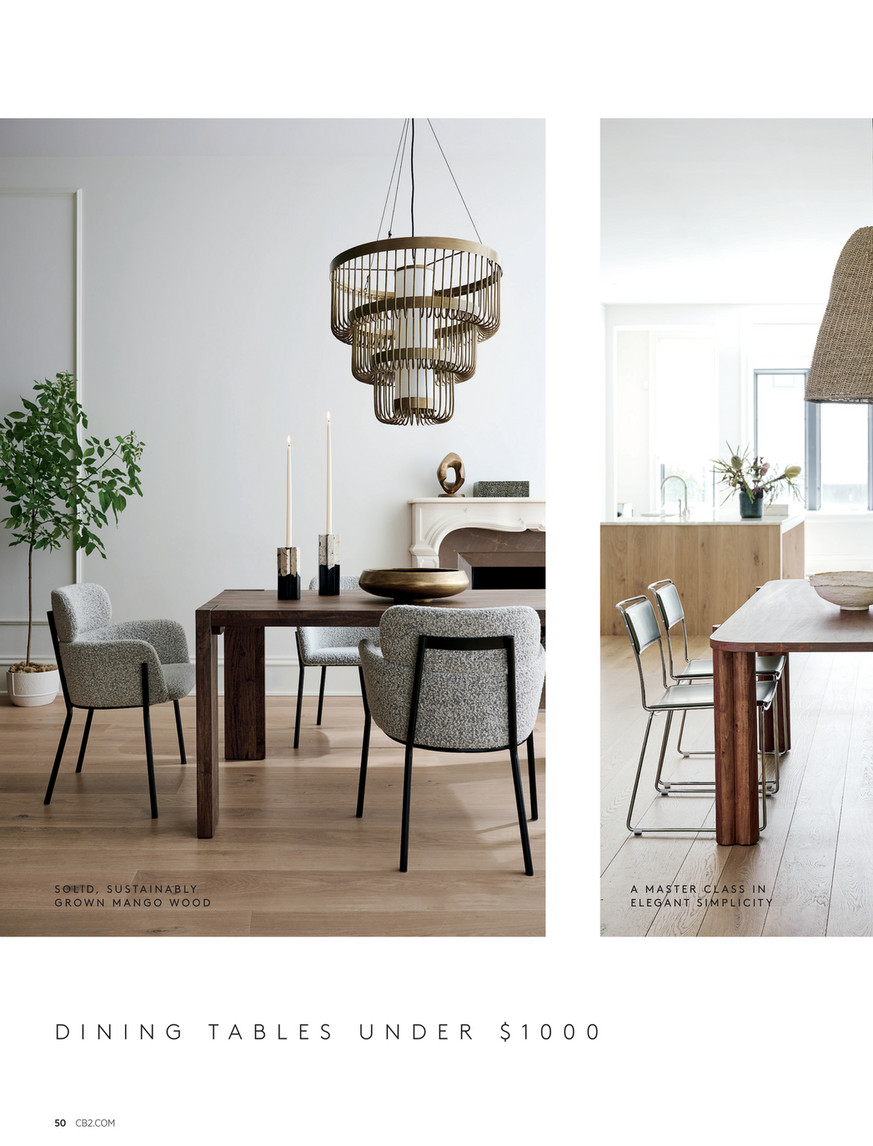 Cb2 December 2020 Lookbook Camille Acacia Wood Dining Table