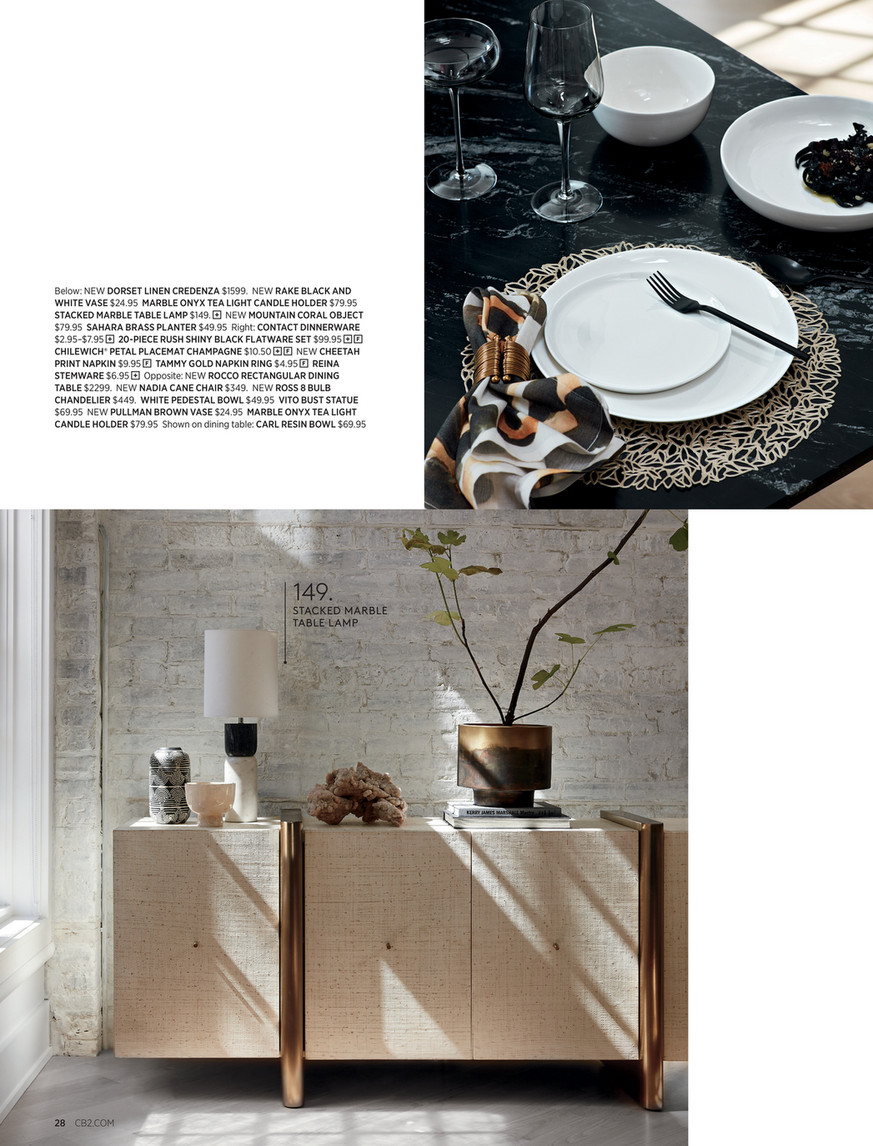Cb2 August Catalog 2019 Rocco Rectangular Marble Dining Table